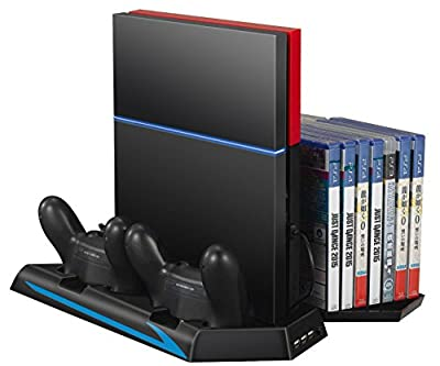 PS4 Cooler, Amir® PS4 Vertical Stand Cooling Fan, Dual Charging Station with 14 Slot Game Disc Storage + 3 HUB Ports, Multifunctional PlayStation 4 Accessory by Amir