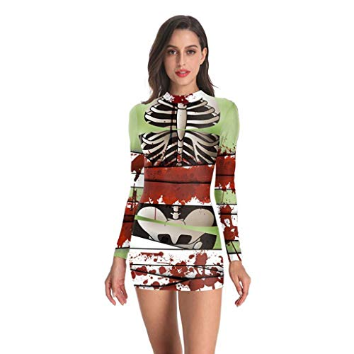 FEDULK Womens Halloween Costume Dress Punk Skeleton Bloodstain Print Long Sleeve Party Prom Mini Dress(Multicolor, XX-Large) -