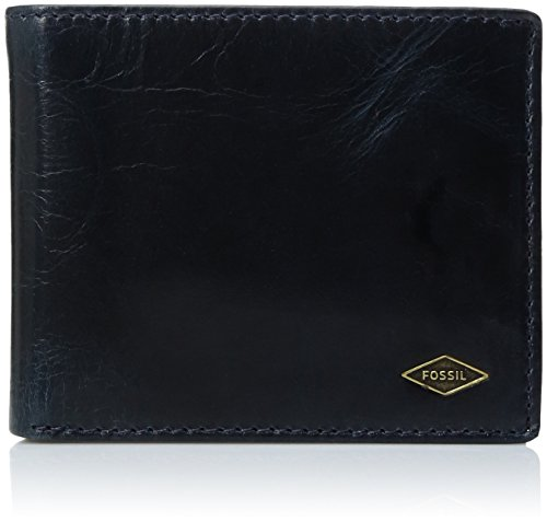 Fossil Men's Ryan Leather RFID Blocking Bifold Flip ID Wallet, Navy, One Size