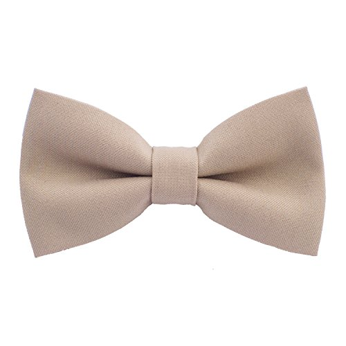 Classic Pre-Tied Bow Tie Formal Solid Tuxedo, by Bow Tie House (Small, Beige)