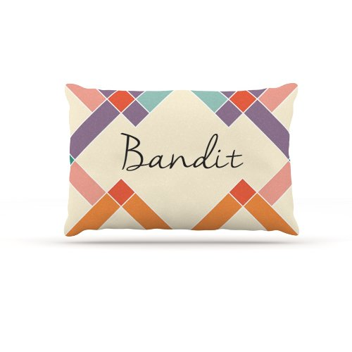Kess InHouse ''Bandit'' Colorful Geometry Name Fleece Dog Bed, 30 by 40-Inch, Rainbow/Tan by Kess InHouse