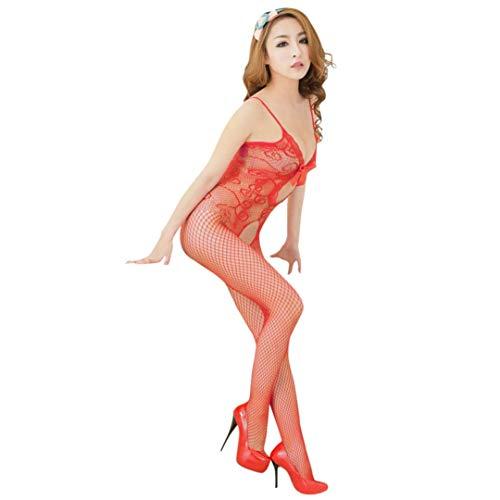 TWGONE Womens Sexy Lingerie Open Mesh Black Bodysuit Jumpsuit Erotic Underwear(Free Size,Red)