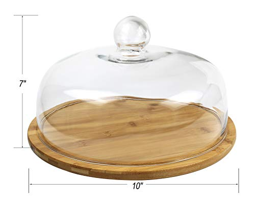 Royal Brands - Bamboo Cupcake Stand, Cake Holder, Dessert and Appetizer Round Centerpiece, Glass Dome Cloche Lid - Perfect for Holding Your Delicious Cakes and Food (Small -