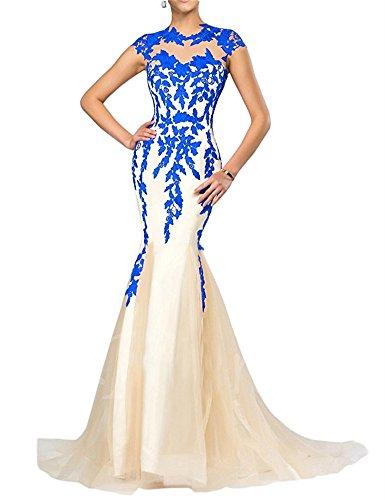 FOLOBE apliques de encaje vestido de la madre de la novia vestido de noche formal de la sirena largo Azul real