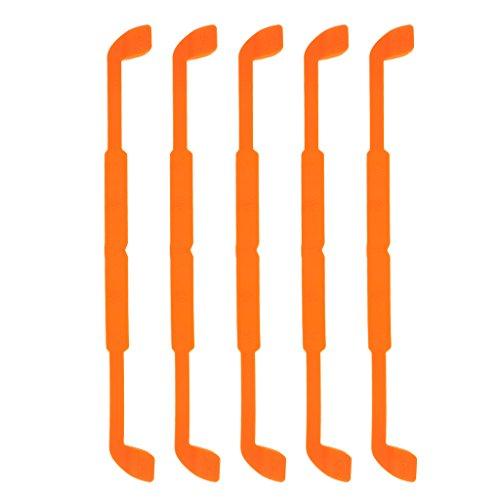 MagiDeal 5pcs Cordons à Lunettes en Silicone Support Lunettes Souple et Anti-dérapant Chaîne de Lunettes pour Sports Voyage Randonnée Orange