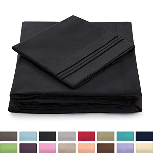 Queen Size Bed Sheets - Black Luxury Sheet Set - Deep Pocket - Super Soft Hotel Bedding - Cool & Wrinkle Free - 1 Fitted, 1 Flat, 2 Pillow Cases - Queen Sheets - 4 Piece