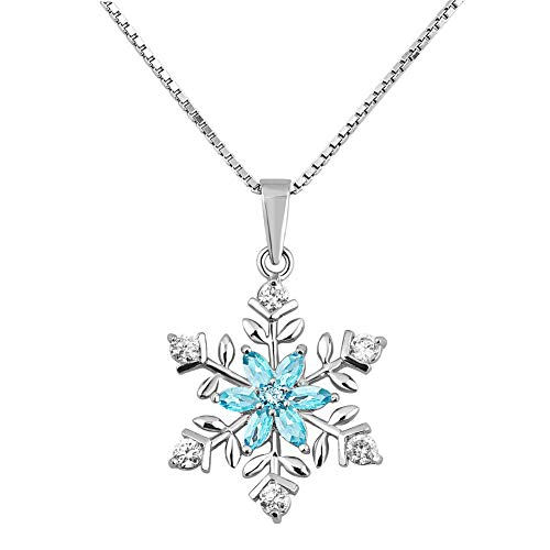 Moonlight Collections Snowflake Pendant Necklace Christmas Winter Holiday Jewelry 925 Sterling Silver CZ