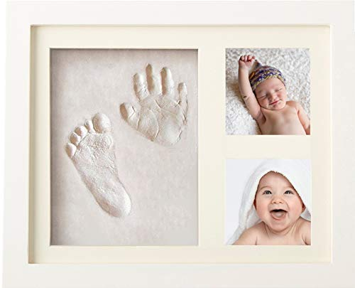 Premium Baby Handprint and Footprint Kit (NO Mold) | Neutral Baby Registry Must Have | Unique Baby Shower & New Mom Gift with Box | Newborn Boy & Girl DIY Photo Frame Keepsake | Nursery Room Decor