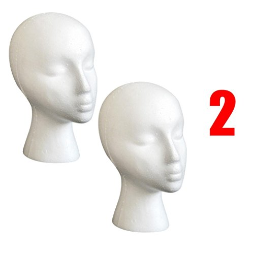 Hip Hop Home Girl Wig (Head Model ,Vanvler 2PC Styrofoam Foam Mannequin Female Head Model Wig Glasses Hat Display Stand (white))