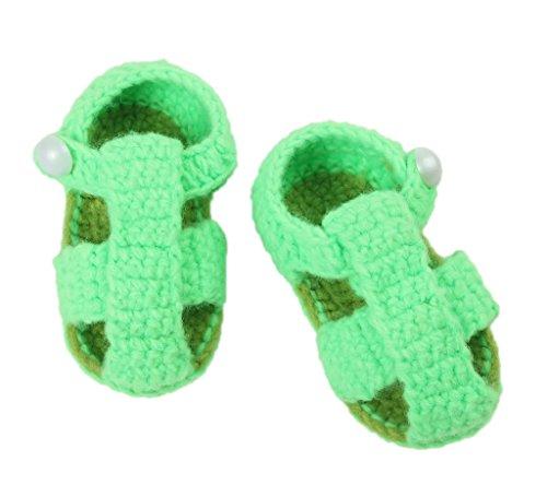 Bigood Strickschuh One Size Strick Schuh Baby Unisex süße Muster 11cm Knopf Grün