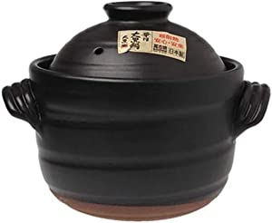 Japanese Donabe Stone Rice Pot with Double Lid,earthen Pot Stockpot Ceramic Casserole Cooker Cookware Stove Pot Soup Hot Pot Black 1.58quart
