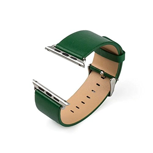 Price comparison product image Apple Watch Bands,Genuine Leather Strap WristBand with Silver Adapters for Apple Watch/ Sport/ iWatch Replacement Band with Metal Clasp in Edition 38mm[Green]