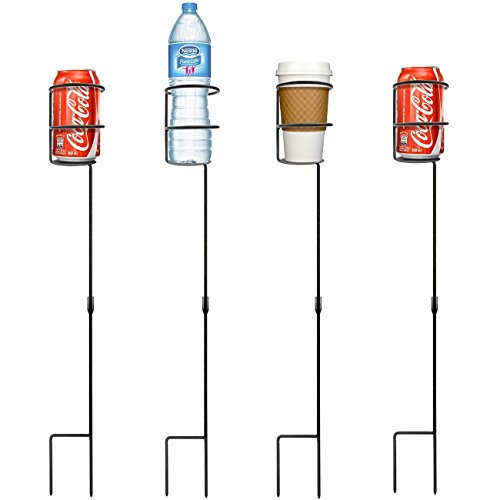 Sorbus Outdoor Beverage Heavy Duty Drink Holder Stakes, Set of 4- Holds a Variety of Beverages Sizes - Great for Beach, Picnics, Tailgating, and more ()
