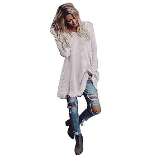 Yvelands Mujeres Invierno Borla de Manga Larga Fuera del Hombro Tops sólidos Blusa Camiseta(Blanco