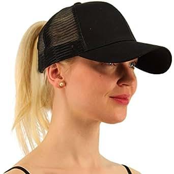 Amazon.com  ATIMIGO Chic Black Ponytail Baseball Cap Hat Ponycap ... 787aa01ca3