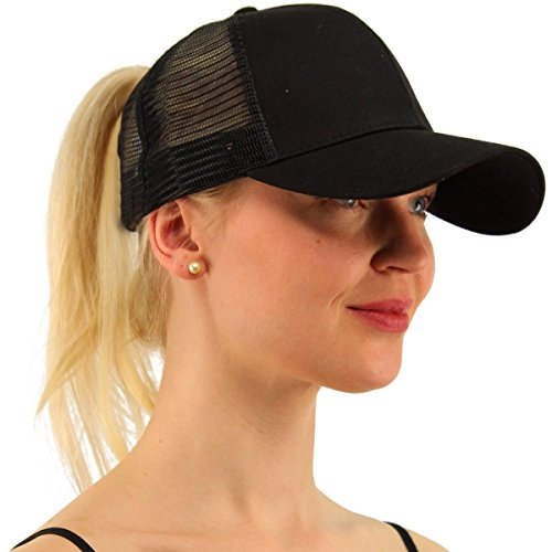 (ATIMIGO Ponytail Baseball Cap Hat Black for Women Messy High Bun Ponycaps Adjustable Mesh Plain Trucker Dad Hat Sun Visor Cap)