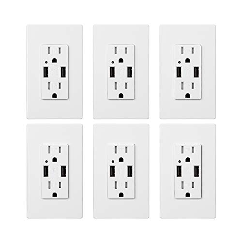 - TORCHSTAR USB Outlet, Dual 4.2A Fast Charging USB Ports, UL-listed Dual 15A Tamper Resistant Duplex Receptacle, USB Wall Charger Outlet, 2 Wall Plate Included, Pack of 6