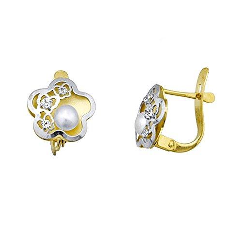 Boucled'oreille 18k gold bicolor perle bouton fleur de 4mm. zircons [AA5275]