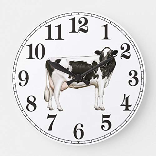 Moonluna Holstein Cow Large Wall Clocks Decorative for Living Room Kitchen Bedroom Bathroom Home Office Decor 16 Inches