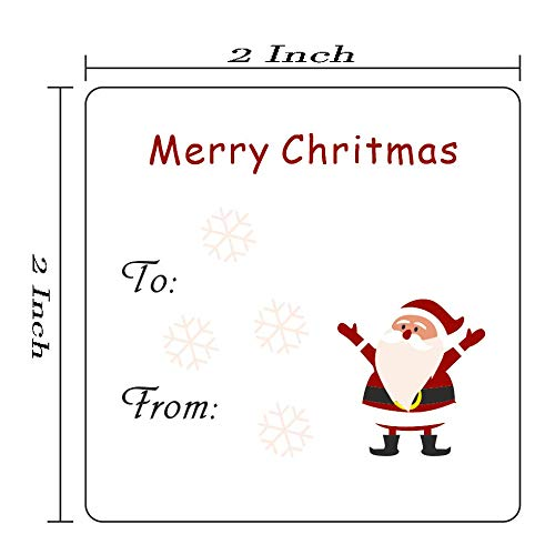 (Christmas Gift Tags Holiday Present Stickers - Xmas to from Christmas Stickers from Santa - Holiday Present Labels, Wrapping Paper Jumbo Rolls, Box and Bags 2x2 Inch 200 Labels per roll)