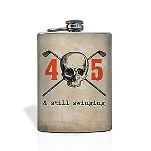 """Golfer 45th Birthday Skull Flask """"Still Swingin"""""""