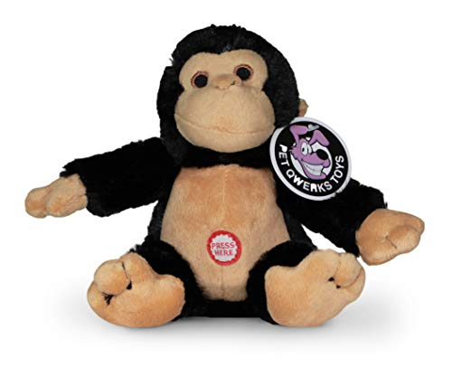 Pet Qwerks Monkey Squeaky Sound Plush – Strong & Durable Stuffed Pet Toy with Funny Squeaks for Small, Medium, Large Dogs & Puppies