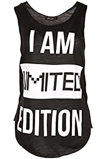 8067980e Women Slogan I Am Limited Edition Edge Summer Burnout Jersey Vest Tee T  Shirt Top Plus…