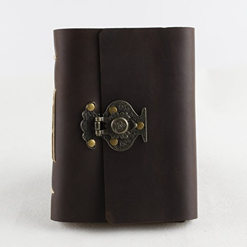Ancicraft Leather Journal Lined Diary Notebook A6 with Flower Vase Lock by Handmade Ruled Craft Paper with Gift Box (A6-Flower vase-Lined Craft Paper)