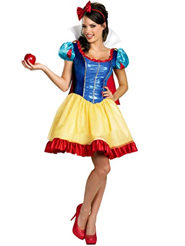 Disguise Disney Deluxe Sassy Snow White Costume, Yellow/Red/Blue, Large/12-14