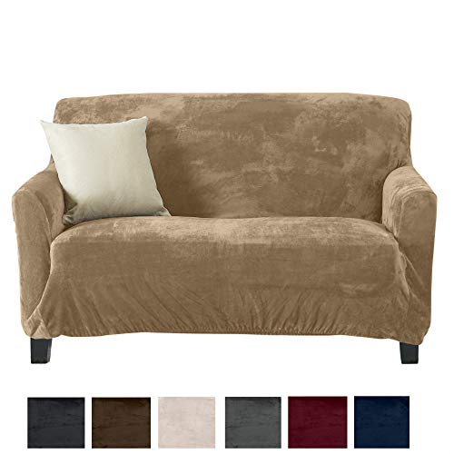 - Great Bay Home Form Fit, Slip Resistant, Stylish Furniture Shield/Protector Featuring Velvet Plush Fabric Magnolia Collection Strapless Slipcover (Loveseat, Taupe - Solid)