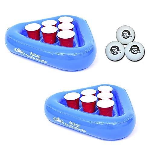 GoPong Pool Pong Rack Floating Beer Pong Set, Includes 2 Rafts and 3 Pong Balls (Renewed)