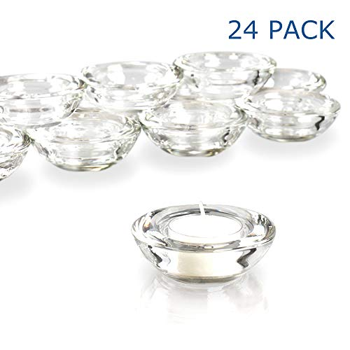 (Elivia Clear Tealight Candle Holders - Set of 24, Round Chunky Glass Candle Holder, 3