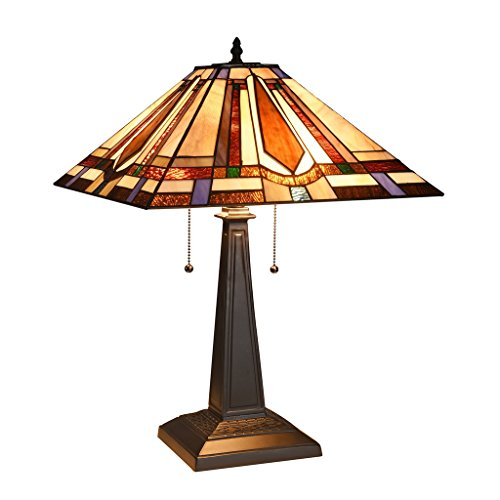 (Docheer Tiffany Style Mission 2-Light Table Lamp 16-Inch Stained Glass)