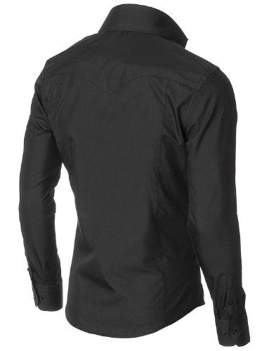 MODERNO Mens Dress Shirts Slim Fit Long Sleeve High Button down Collar (MSSF501) Black US L