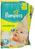 Pampers Swaddlers Disposable Diapers Newborn Size 0 (> 10 lb), 32 Count, JUMBO