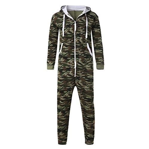 Sunhusing Couple Autumn Winter Camouflage Printed Warm Hooded Jumpsuit Unisex One-Piece Garment Pajama Playsuit ()