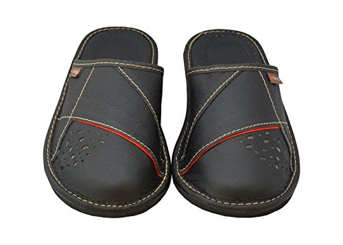 BeComfy Herren Hausschuhe Leder (Kalbsleder) Pantoffeln Schwarz Geschenkkarton (Wahlweise) Modell MI09 Schwarz Mit Rot