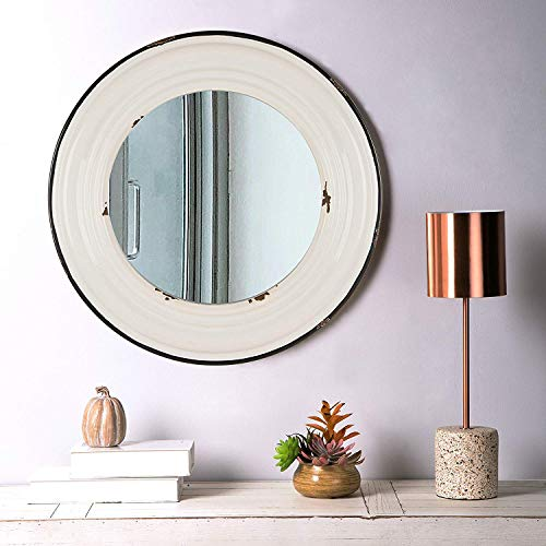 Glitzhome Metal Accent Metal Enamel Wall Mirror 24.8-Inch Round Vintage Farmhouse Mirror - The Off Floor Bathroom Height Mirrors