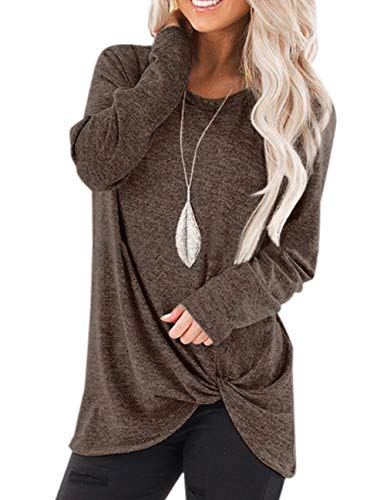 - ZENUTA Womens One Shoulder Long Sleeve Twist Knot Blouses Sexy T Shirt Tops Brown