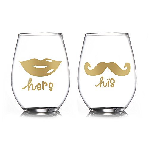 Cheap Fifth Avenue His/Hers Stemless Glasses (Set of 2), 3.75 x 3.75 x 4.9″, Gold