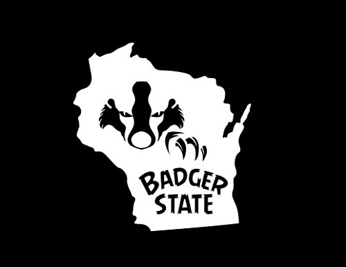 ND460W Wisconsin The Badger State Decal Sticker | 5.5-Inches By 5.1-Inches | Premium Quality White Vinyl