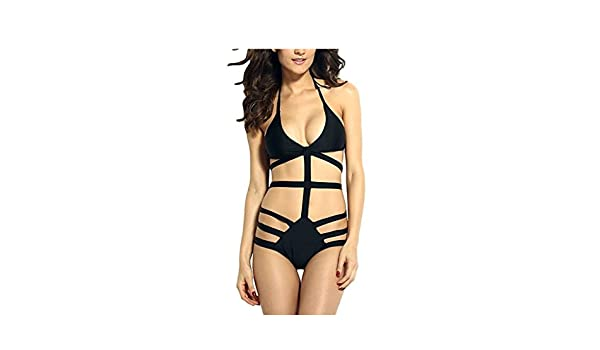 Amazon.com: BABY-QQ Sexy Womens Halter Swimwear Strappy Bodysuits Cutout Monokini Black: Clothing