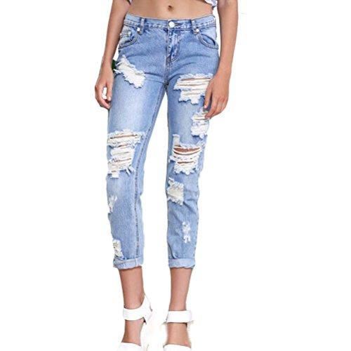 Laixing Buena Calidad Women Denim Skinny Ripped Pants Stretch Jeans Slim Pencil Trousers TSL049 Light Blue