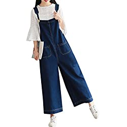 Yeokou Women's Loose Baggy Wide Leg Cropped Denim Jumpsuit Rompers Overalls Pant,Dark Blue,X-Large