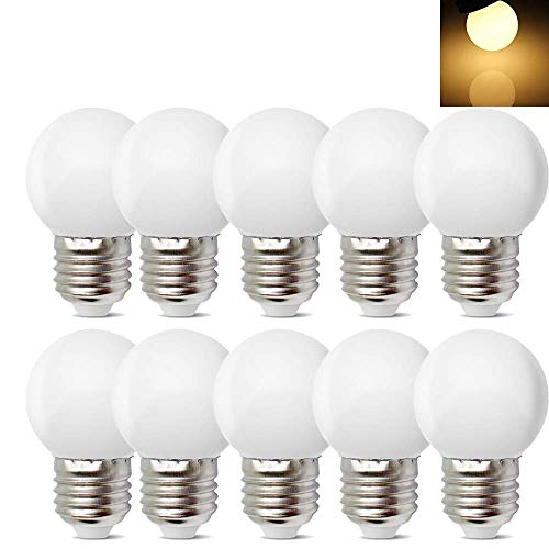 10Pack E26 E27 Led Bulb 1W Soft White 3000K Not Dimmable LED Energy Saving Light Bulbs 5 Watt Equivalent LED Lights for for Halloween Bedroom Holiday Decoration]()