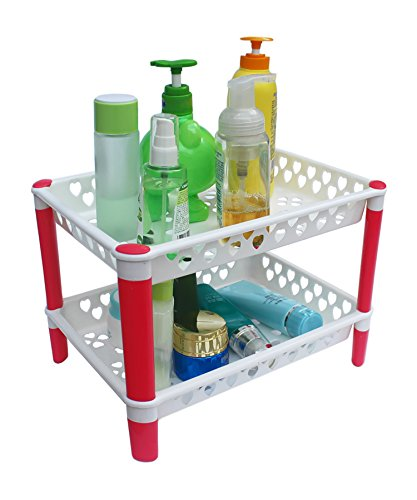 Honla 2-Tiered Plastic Bathroom Shelves Organizer with Perforated Storage Baskets-Small Shelving Units/Drying Rack for Bath Organization,Free Standing,Pink and White