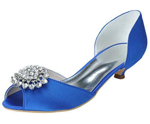 ZXF Women's Wedding Low Heel Shoes Blue 11 US