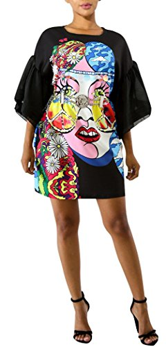 Speedle Women Casual Short Sleeve Digital Graffiti Print Loose Tunic T-Shirt Mini Dress Black 22 XL