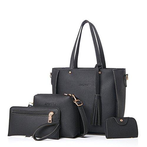 Oxforder Frauen PU Leder Handtasche Tote Taschen Schultertasche Umhängetasche Beutel Geldbeutel 4 Stück Set