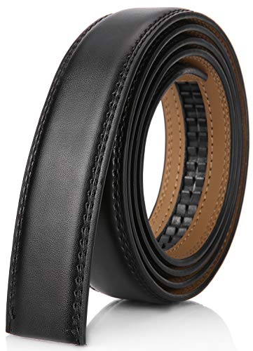"Mio Marino Mens Genuine Leather Ratchet Belt Replacement Strap 1.18 Without Buckle - Black - Adjustable from 26"" to 44"" Waist"